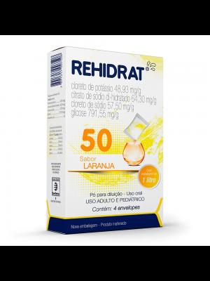 REHIDRAT 50 CAIXA COM 4 ENVELOPES SABOR LARANJA