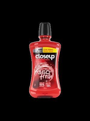 ENXAGUANTE BUCAL CLOSE UP: RED HOT 360 FRESH SEM ALCOOL - 500ML