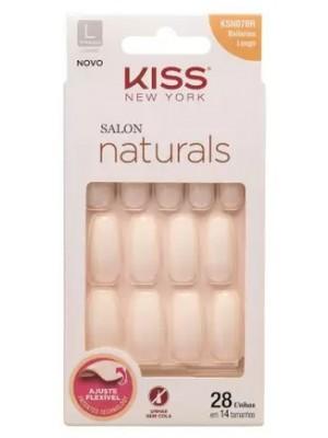 UNHAS POSTIÇAS KISS SALON NATURALS BAILARINA LONGO 28 UNID